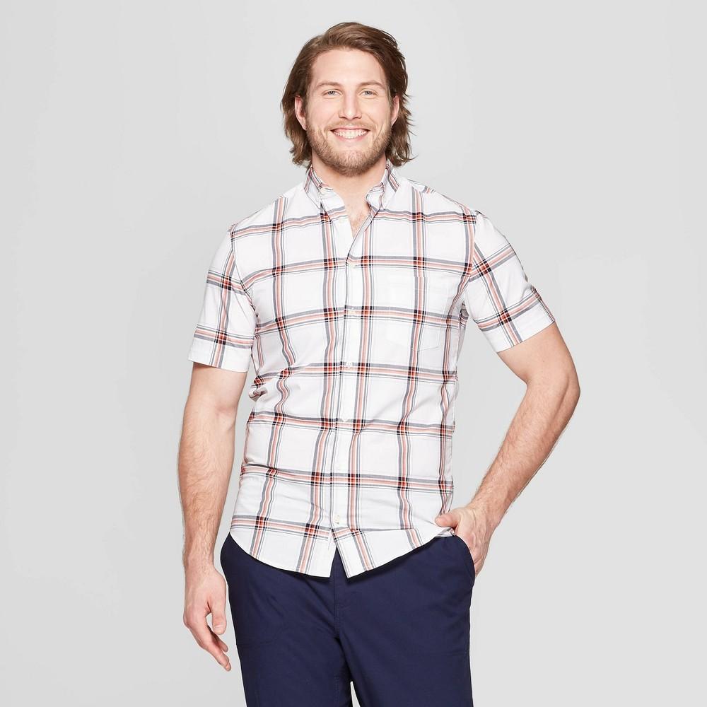 Men's Big & Tall Checkered Standard Fit Short Sleeve Poplin Button-Down Shirt - Goodfellow & Co White 4XBT