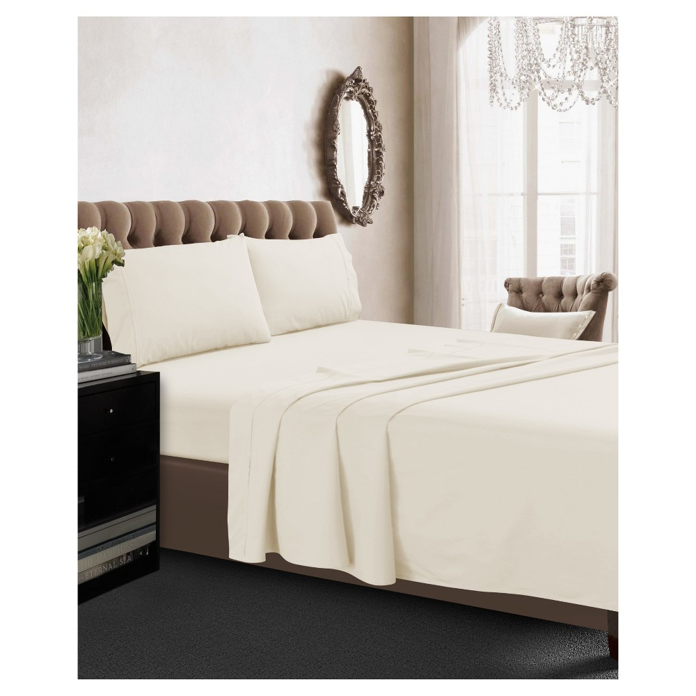Cotton Percale Deep Pocket Solid Sheet Set Queen Ivory 350 Thread Count Tribeca Living