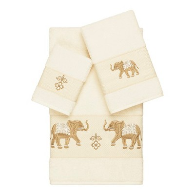 Quinn Embellished Bath Towel Set Cream - Linum Home Textiles