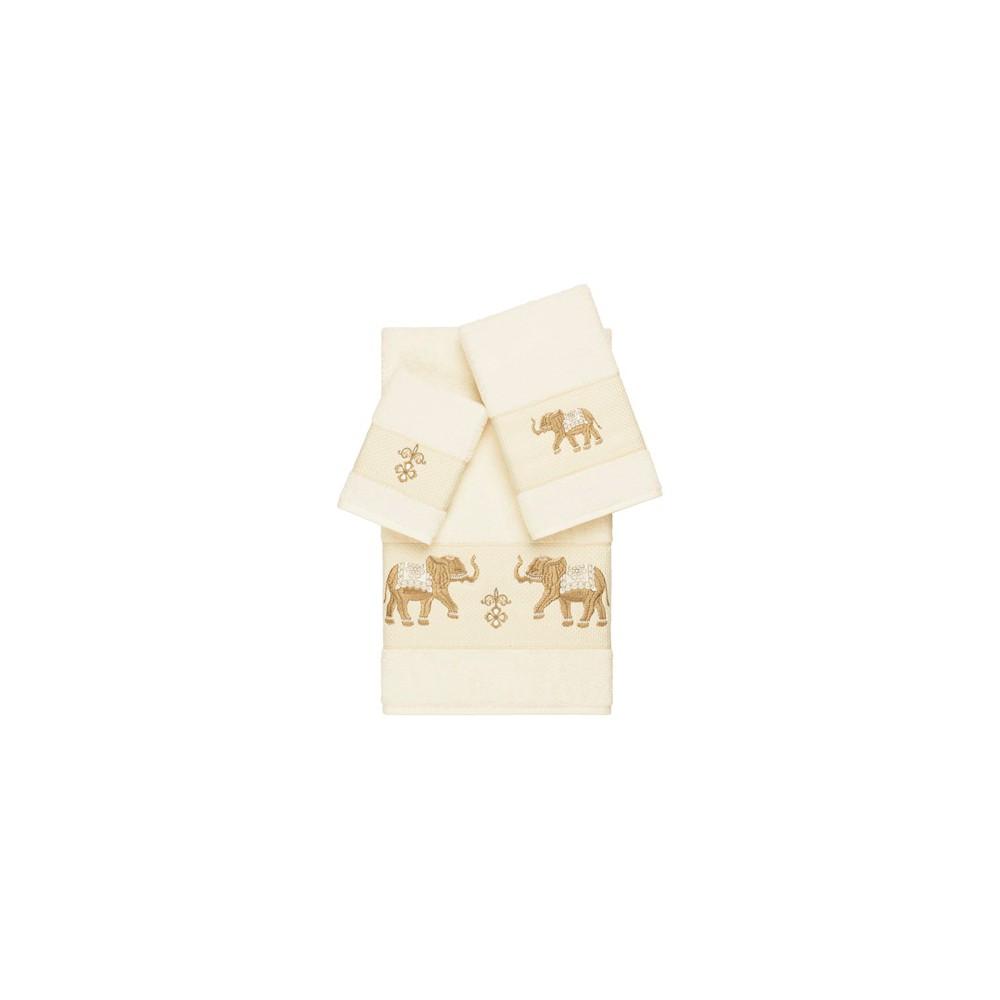 Quinn Embellished Bath Towel Set Cream (Ivory) - Linum Home Textiles