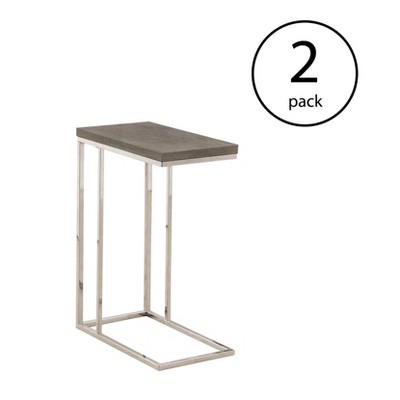 Monarch Specialties Contemporary Rectangular Side End Table, Dark Taupe (2 Pack)