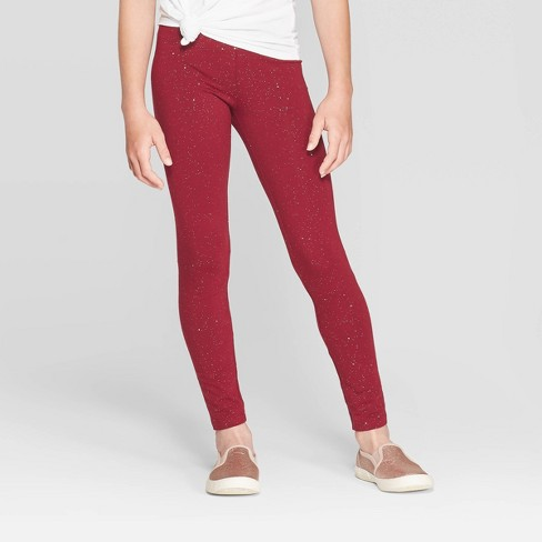 Girls' Sparkle Leggings - Cat & Jack™ Burgundy - image 1 of 3