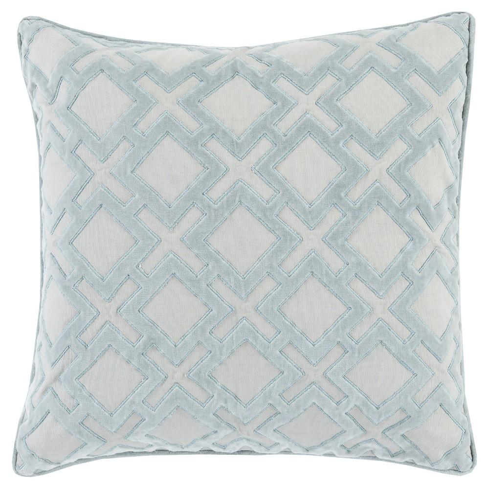 Light Gray Geometric Velvet Throw Pillow 22