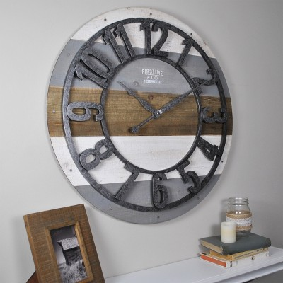 "27"" Shabby Farmhouse Planks Wall Clock Rustic Gray - FirsTime & Co."