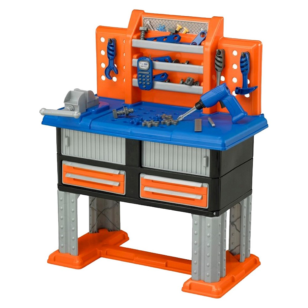 American Plastic Toys Deluxe Workbench - Blue/Gray