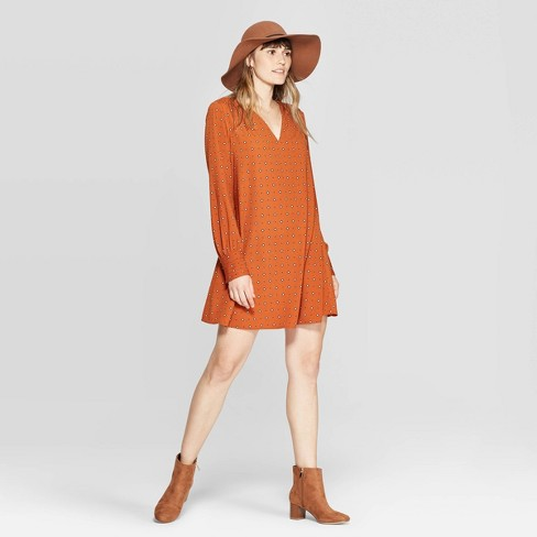 Women's Argyle Print Long Sleeve V-Neck Woven Mini Dress - A New Day™ Rust - image 1 of 3