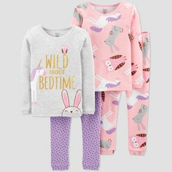 Toddler Girls' 4pc Unicorn 100% Cotton Pajama Set - Just One You® made by carter's Pink/Gray/Violet