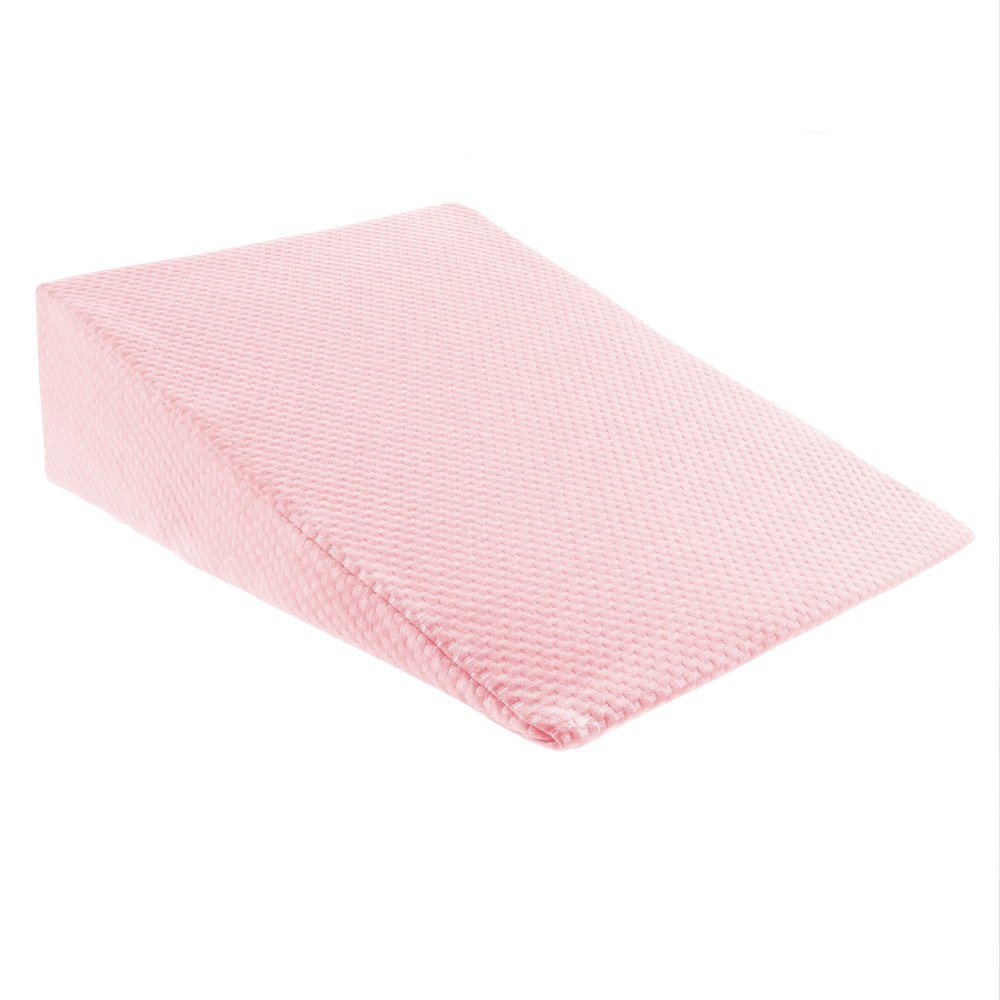 Image of Yorkshire Home Queen Wedge Memory Foam Support Pillow with Rayon from Bamboo Fiber Cover Pink