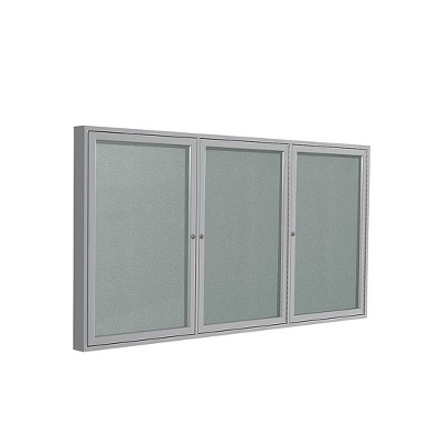 Ghent 3 Door Enclosed Vinyl Bulletin Board with Satin Frame 3'H x 6'W Silver PA33672VX193