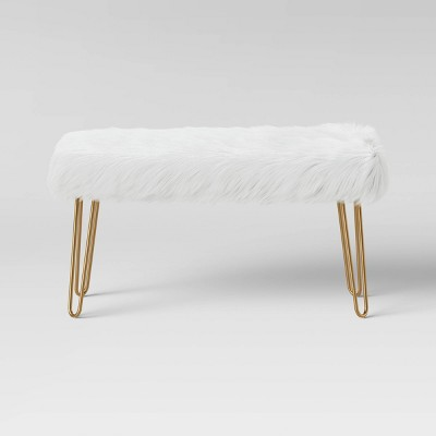 Radovre Hairpin Bench Faux Fur White - Project 62™