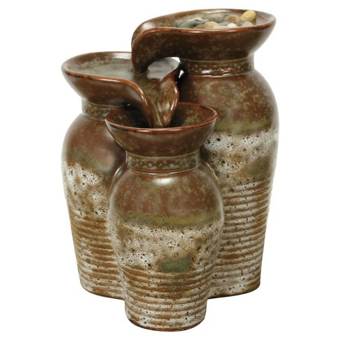 "6"" x 5.5"" x 7.75"" Fountain In Triple Vase - Brown / Ivory - Foreside Home & Garden - image 1 of 1"