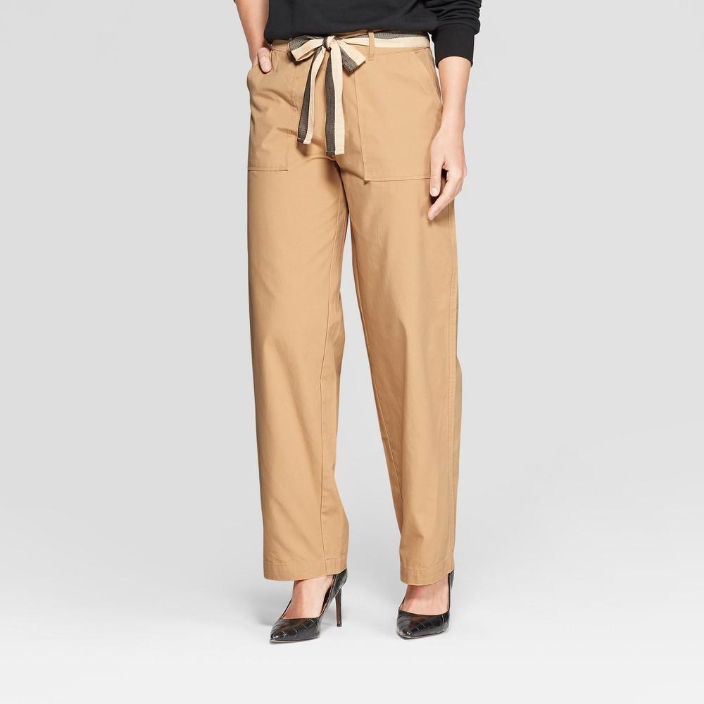 Women's Duo Front Pocket Straight Wide Leg Cargo Pants - Who What Wear Khaki 12, Beige
