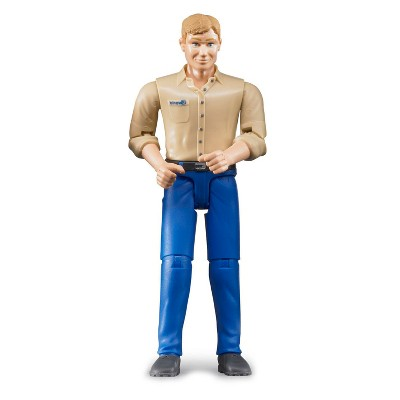 Bruder bworld Man with Tan Shirt and Blue Jeans Toy Figure