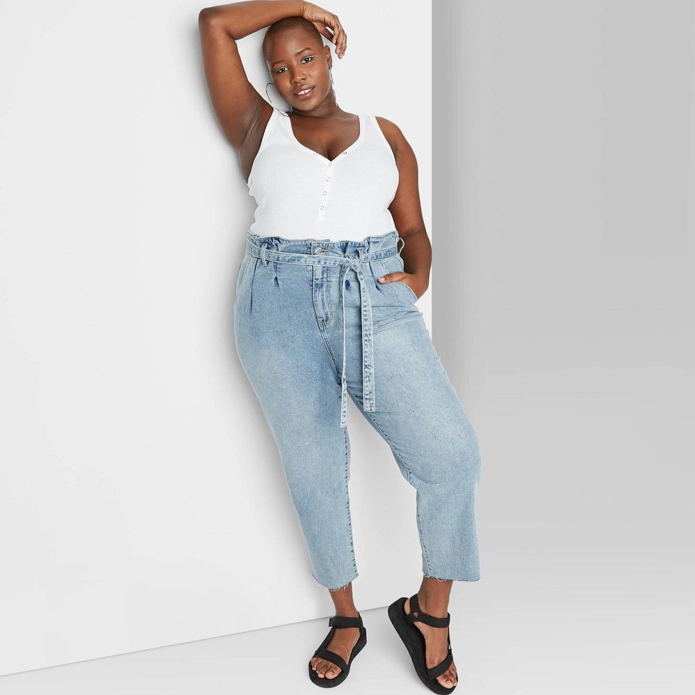 Vintage High Waisted Trousers, Sailor Pants, Jeans Womens Plus Size High-Rise Tapered Paperbag Jeans - Wild Fable Light Wash 22W Womens Blue $28.00 AT vintagedancer.com