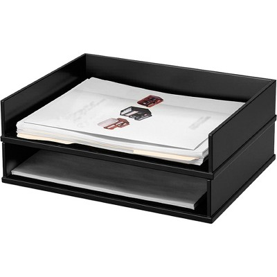 """Victor Stacking Letter Tray Side 13""""x10-9/16""""x3-1/4"""" Midnight BK 11545"""