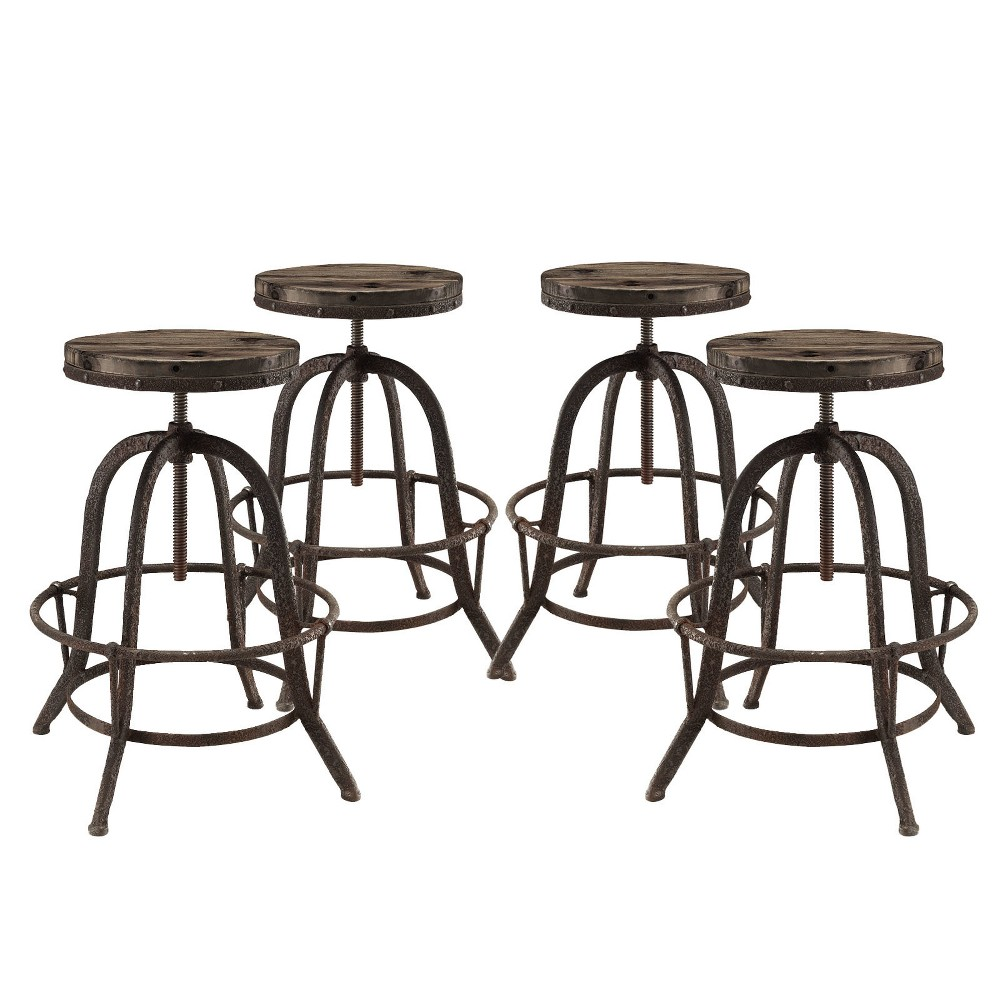 Collect Bar Stool Set of 4 Brown - Modway