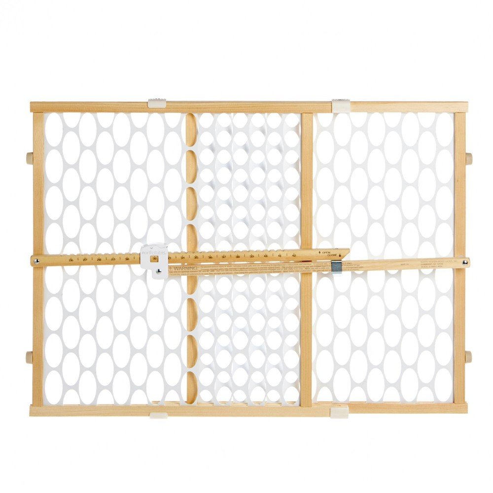 """Image of """"Toddleroo by North States Quick Fit Oval Mesh Baby Gate - Natural Wood - 26""""""""-42"""""""" Wide"""""""