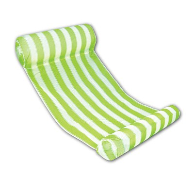 """Swim Central 51.75"""" Striped Water Hammock 1-Person Swimming Pool Lounger - Green/White"""