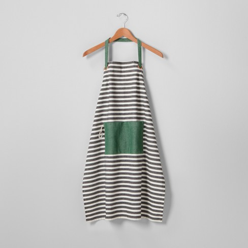 Striped Cooking Apron - Black/Cream - Hearth & Hand™ with Magnolia - image 1 of 2