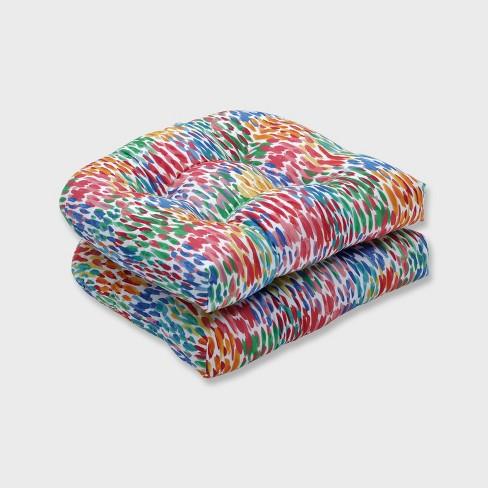 2pk Make It Rain Wicker Outdoor Seat Cushion Zinnia Blue - Pillow Perfect - image 1 of 2