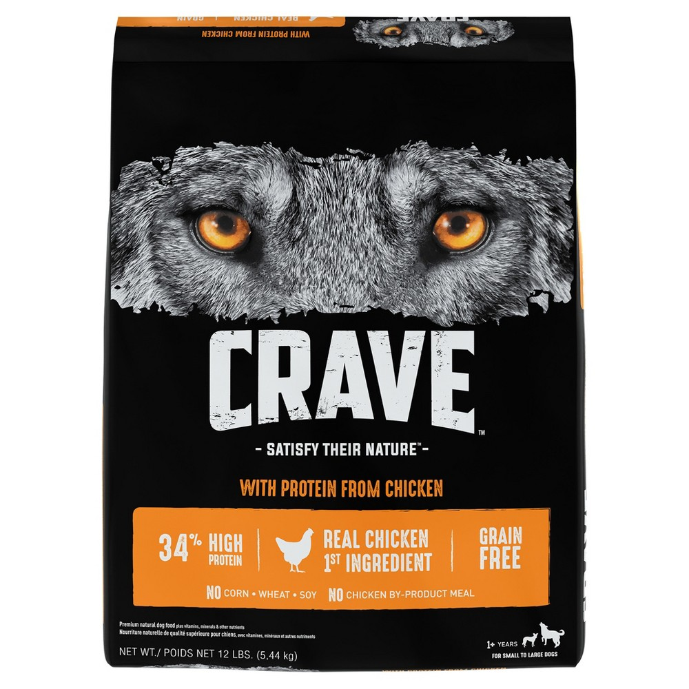 Crave Grain Free Adult Dry Dog Food With Protein From Chicken - 12lbs