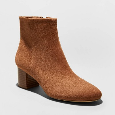 Women's Kina Microsuede Heeled Ankle Bootie   A New Day by A New Day