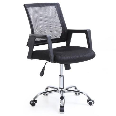 Sensational Mesh Mid Back Adjustable Height Swiveling Office Chair In Black Hodedah Machost Co Dining Chair Design Ideas Machostcouk