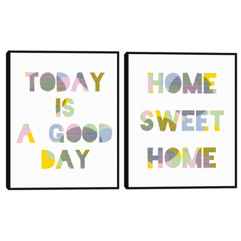 Set of 2 Good Day & Home Sweet Home Framed Canvas Art Prints - Masterpiece Art Gallery - image 1 of 4