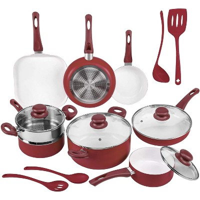 Ivation Ceramic Cookware   16-Piece Nonstick Cookware Set with Induction Base, SoftGrip Handles & Clear Glass Lids   Compatible with Induction, Ceramic, Gas, Electric & Halogen Cooktops   Red