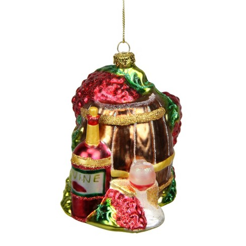 """NORTHLIGHT 4"""" Tuscan Winery Wine Barrel Glass Christmas Ornament - Red - image 1 of 1"""