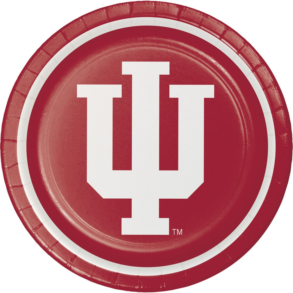 Image of 24ct University Of Indiana Hoosiers Paper Plates Red