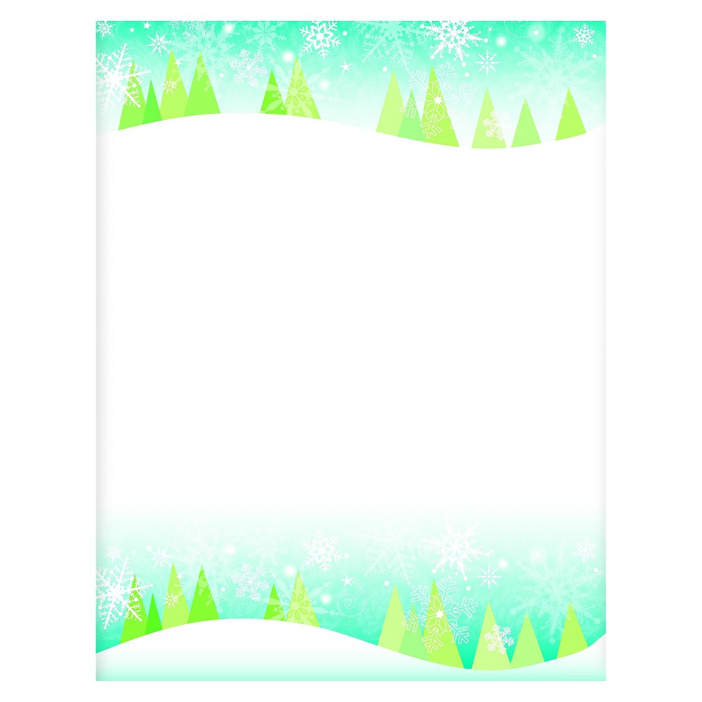 80ct Snowflakes & Trees Holiday Stationery, Multi-Colored