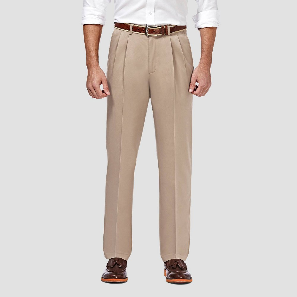 Coupons Haggar Men's Premium No Iron Classic Fit Pleated Casual Pants -