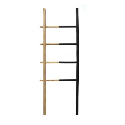 "20.50"" x 60"" Wood and Metal Decorative Ladder Black/Natural - Stratton Home Décor"