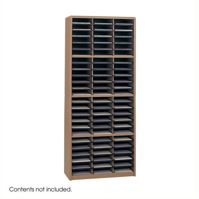 Steel 72 Compartment Metal Flat Files Organizer in Medium Oak Brown-Scranton & Co - image 1 of 3