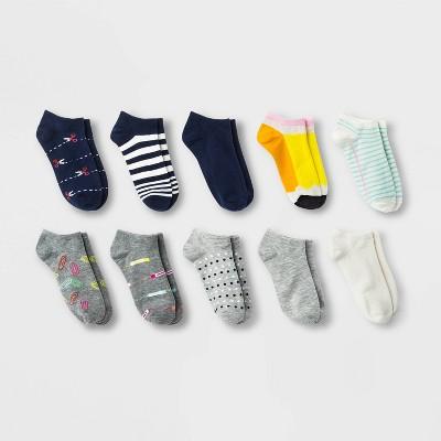 Women's School Work 10pk Low Cut Socks - Xhilaration™ Assorted Colors 4-10