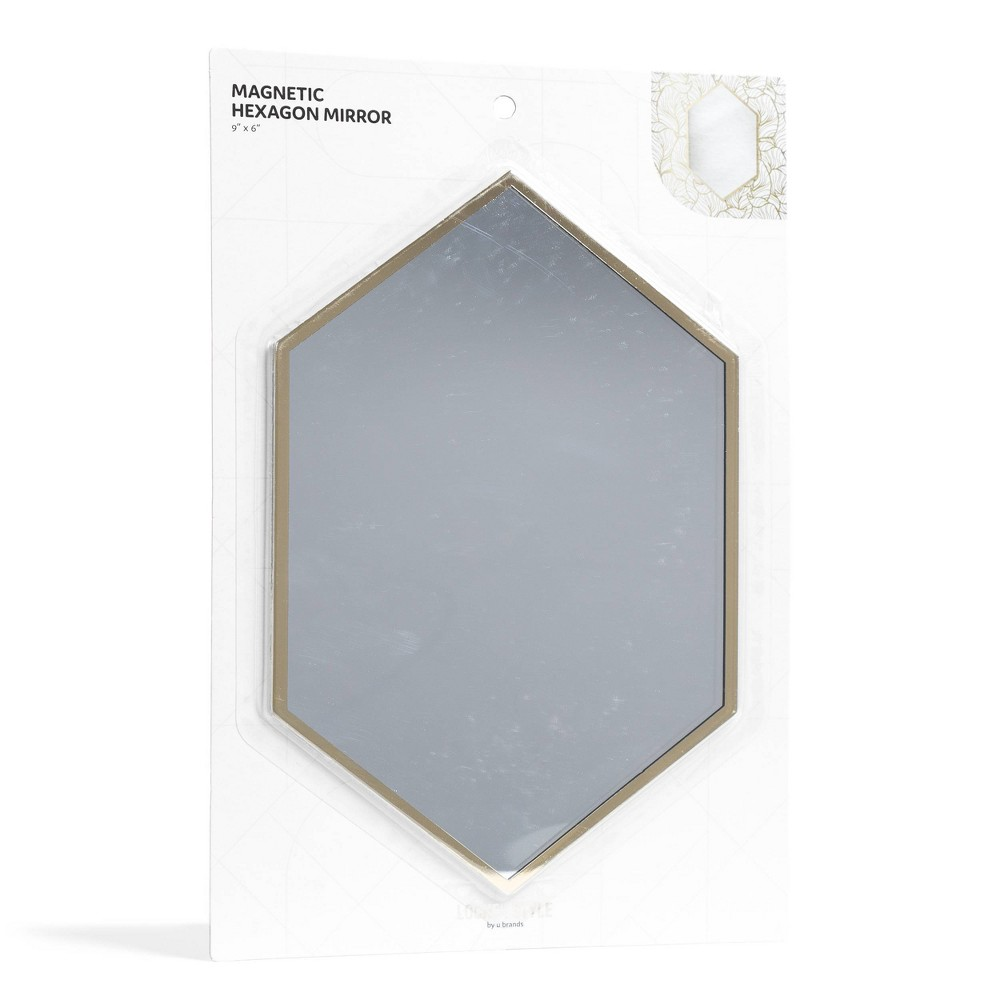 Image of Magnetic Hexagon Locker Mirror Gold - Locker Style by UBrands