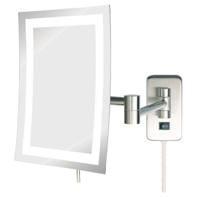 Jerdon 5X LED Lighted Rectangular Wall Mounted Mirror Extends 15.5