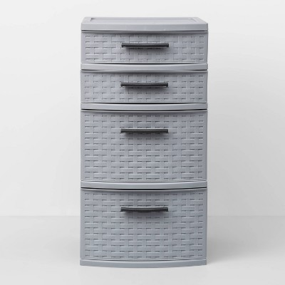4 Medium Drawer Weave Tower Gray - Room Essentials™