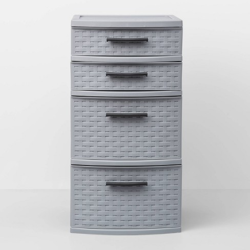 4 Medium Drawer Weave Tower Gray - Room Essentials™ - image 1 of 3