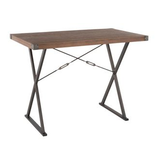 Prep Industrial Counter Height Dining Table Antique/Brown - LumiSource