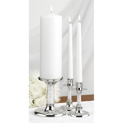 3pc Wedding Unity Glittering Beads Candle Set Silver