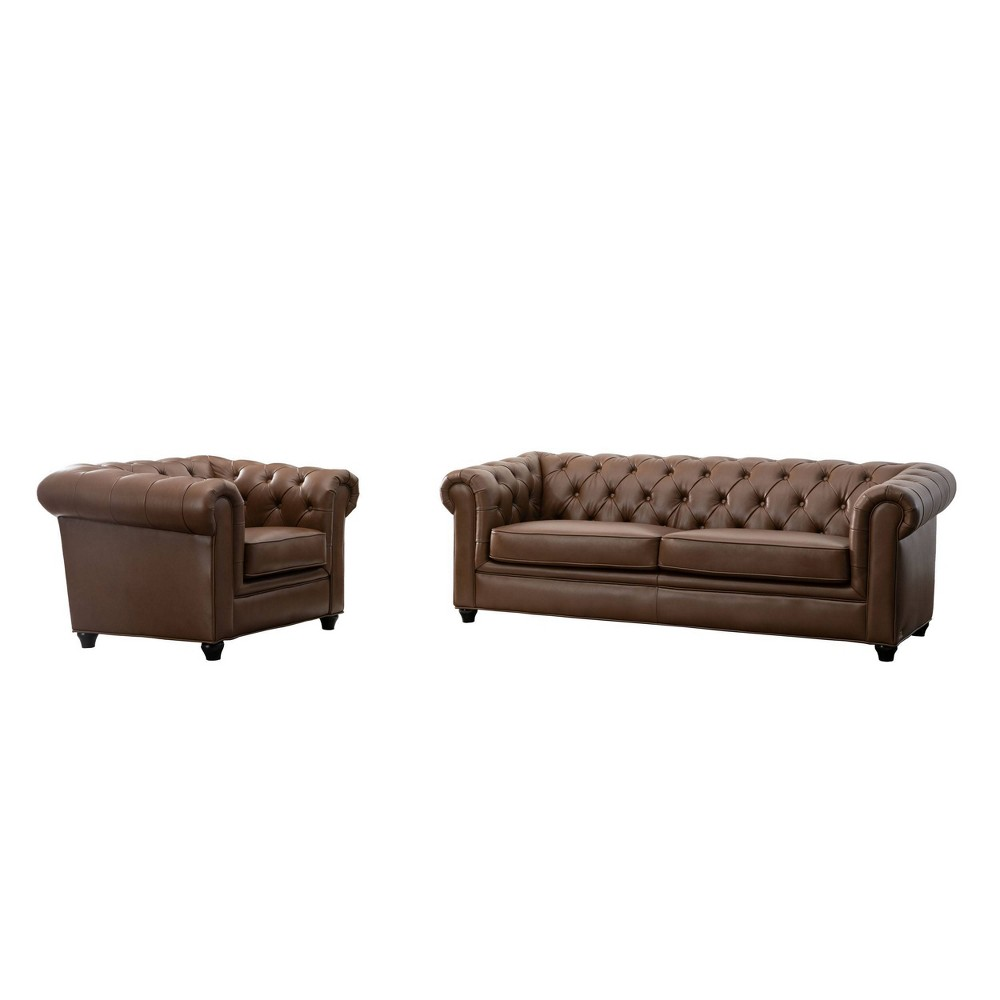 Image of 2pc Lincoln Tufted Chesterfield Sofa & Armchair Set Camel - Abbyson Living