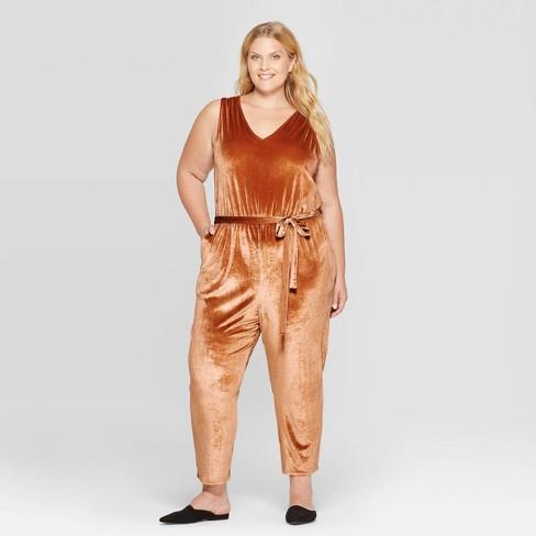 Women S Plus Size Sleeveless V Neck Velour Jumpsuit Ava Viv Target