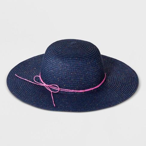 7180f2d6243 Girls  Straw Floppy Hat - Cat   Jack™ Navy One Size   Target