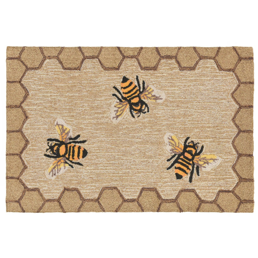 Image of 2'6X4' Bee Accent Rug Natural - Liora Manne, White