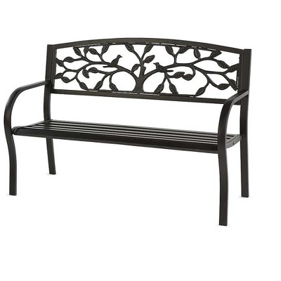 Tree of Life Metal Garden Bench, in Black