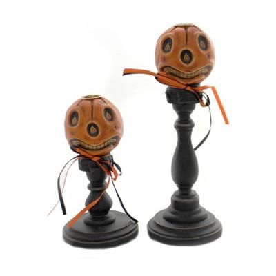 "Halloween 10.25"" Pumpkinhead Candle Sticks Flame Vintage Look  -  Decorative Figurines"