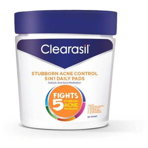 Clearasil Stubborn Acne Control - 5in1 Daily Pads 6/90ct - image 1 of 4