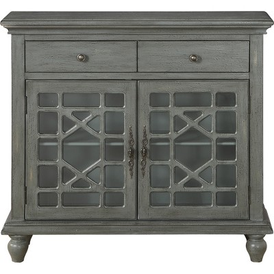 Cimmeron 2 Drawer 2 Door Cupboard Gray - Treasure Trove